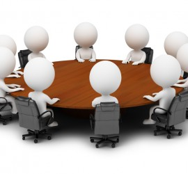 3d small people - session behind a round table